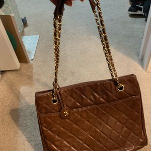 CHANEL Bags - Vintage CHANEL brown color lamb leather tote